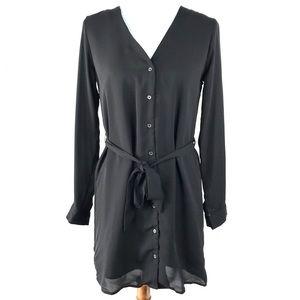 NWT Forever 21 Black Long Sleeve Shirt Dress Small